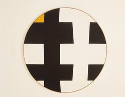 Leon Polk Smith (American, 1906-1996). Black-White with Yellow, 1953. Oil on canvas, diameter: 60 in. (152.4 cm). Brooklyn Museum, Bequest of Leon Polk Smith, 2011.12.4. © artist or artist's estate