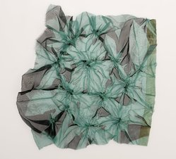 Aviva Stanoff (American, born 1972). Shibori Mini Volcanos, 2001. Poly chiffon and transfer dyes, 14 1/2 x 14 3/4 in. (36.8 x 37.5 cm). Brooklyn Museum, Gift of the artist in honor of Rocket Morrison Shafor , 2011.19.11. © artist or artist's estate