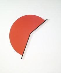 Leon Polk Smith (American, 1906-1996). Lobster Red, 1984. Acrylic on canvas with wood, 89 x 49 1/2 in. Brooklyn Museum, Bequest of Leon Polk Smith, 2011.12.11. © artist or artist's estate