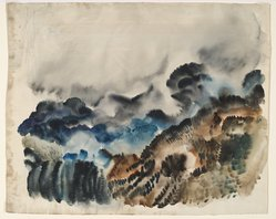 "Hale Woodruff (American, 1900-1980). Rocky Mountain Landscape I, ca.1936. Watercolor on paper, 14 x 18 in. (35.6 x 45.7 cm). Brooklyn Museum, Gift of Auldlyn Higgins Williams and E. T. Williams, Jr. in memory of their parents, Dr. I. Bradshaw Higgins and Hilda Moseley Higgins and Edgar T. ""Ned"" Williams and Elnora Bing Williams Morris, 2011.29.1. © artist or artist's estate"
