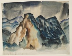 """Hale Woodruff (American, 1900-1980). Rocky Mountain Landscape II, ca.1936. Watercolor on paper, 14 x 18 in. (35.6 x 45.7 cm). Brooklyn Museum, Gift of Auldlyn Higgins Williams and E. T. Williams, Jr. in memory of their parents, Dr. I. Bradshaw Higgins and Hilda Moseley Higgins and Edgar T. """"Ned"""" Williams and Elnora Bing Williams Morris, 2011.29.2. © artist or artist's estate"""