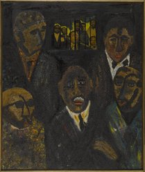 Vincent DaCosta Smith (American, 1929-2004). Report from the Caucus Room, 1969. Oil on sand on canvas, 30 x 30 in. (76.2 x 76.2 cm). Brooklyn Museum, Gift of R.M. Atwater, Anna Wolfrom Dove, Alice Fiebiger, Joseph Fiebiger, Belle Campbell Harriss, and Emma L. Hyde, by exchange, Designated Purchase Fund, Mary Smith Dorward Fund, Dick S. Ramsay Fund, and  Carll H. de Silver Fund, 2012.80.11. © artist or artist's estate