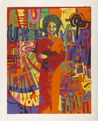 Carolyn Lawrence (American, born 1940). Uphold Your Men, 1971. Screenprint on paper, Sheet: 30 x 24 in. (76.2 x 61 cm). Brooklyn Museum, Gift of R.M. Atwater, Anna Wolfrom Dove, Alice Fiebiger, Joseph Fiebiger, Belle Campbell Harriss, and Emma L. Hyde, by exchange, Designated Purchase Fund, Mary Smith Dorward Fund, Dick S. Ramsay Fund, and  Carll H. de Silver Fund, 2012.80.27. © artist or artist's estate