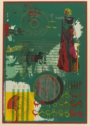 John T. Riddle (American, 1933-2002). Justice in the Americas, 1980. Screenprint on paper, Image: 31 1/2 x 21 1/2 in. (80 x 54.6 cm). Brooklyn Museum, Gift of R.M. Atwater, Anna Wolfrom Dove, Alice Fiebiger, Joseph Fiebiger, Belle Campbell Harriss, and Emma L. Hyde, by exchange, Designated Purchase Fund, Mary Smith Dorward Fund, Dick S. Ramsay Fund, and  Carll H. de Silver Fund, 2012.80.38. © artist or artist's estate