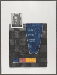 Frank Sharpe (American, born 1942). Man: Amnesty, 1970. Mixed media print on paper (etching, aquatint and embossing), Sheet: 29 1/2 x 22 1/2 in. (74.9 x 57.2 cm). Brooklyn Museum, Gift of R.M. Atwater, Anna Wolfrom Dove, Alice Fiebiger, Joseph Fiebiger, Belle Campbell Harriss, and Emma L. Hyde, by exchange, Designated Purchase Fund, Mary Smith Dorward Fund, Dick S. Ramsay Fund, and  Carll H. de Silver Fund, 2012.80.39. © artist or artist's estate