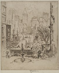 Joseph Pennell (American, 1860-1926). From Clark Street to Wall Street, 1924. Etching, Image: 8 7/8 x 7 1/2 in. (22.5 x 19 cm). Brooklyn Museum, Gift of Edward C. Blum, 25.34. © artist or artist's estate
