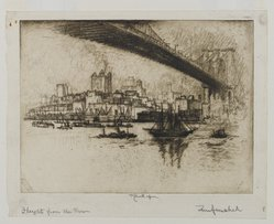 Joseph Pennell (American, 1860-1926). The Heights, Brooklyn, 1924. Etching, Sheet: 8 5/16 x 10 1/2 in. (21.1 x 26.7 cm). Brooklyn Museum, Gift of the artist, 25.43. © artist or artist's estate