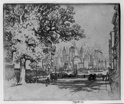 Joseph Pennell (American, 1860-1926). New York, from Grace Court, 1924. Etching, Image: 7 3/8 x 8 7/8 in. (18.7 x 22.6 cm). Brooklyn Museum, Gift of Edward C. Blum, 25.48. © artist or artist's estate