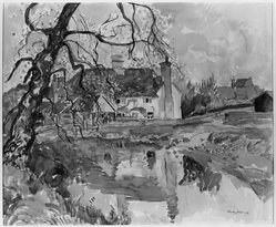 Hayley Lever (American, 1876-1958). English Farmhouse. Watercolor, Sheet: 15 x 18 in. (38.1 x 45.7 cm). Brooklyn Museum, Museum Collection Fund, 27.196. © artist or artist's estate