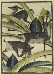Kai Gotzsche (American, born Denmark, 1886). Deer and Cactus, ca. 1926. Watercolor over graphite with some gold paint on moderately thick, moderately textured, cream, wove, hand-made Whatman paper, 30 1/8 x 22 1/4 in. (76.5 x 56.5 cm). Brooklyn Museum, Museum Collection Fund, 29.1389. © artist or artist's estate