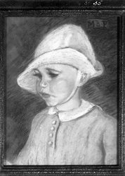 Margaret Bucknell Pecorini (American, 1879-1963). Baby in White Cap. Pastel on gray-brown paper, 14 x 11 1/16 in. (35.6 x 28.1 cm). Brooklyn Museum, 30.45. © artist or artist's estate