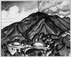 John Kellog Woodruff (American, 1879-1956). Vesuvius, 1929. Watercolor, 17 1/8 x 21 3/16 in. (43.5 x 53.8 cm). Brooklyn Museum, Gift of Alfred W. Jenkins, 30.66. © artist or artist's estate