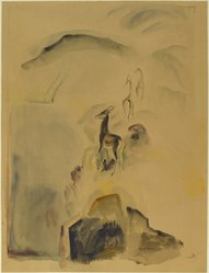Olive Rush (American, 1873-1966). Deer Path, ca. 1930. Transparent watercolor with touches of opaque watercolor on dark tan, thick, rough textured wove paper, Sheet: 24 13/16 x 18 7/8 in. (63 x 48 cm). Brooklyn Museum, Museum Collection Fund, 31.136. © artist or artist's estate