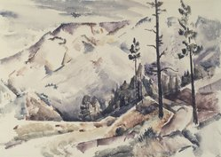 Jozef G. Bakos (American, 1891-1977). Early Snow, ca. 1930. Watercolor on heavy white paper, Sheet: 14 15/16 x 20 7/8 in. (37.9 x 53 cm). Brooklyn Museum, Museum Collection Fund, 31.137. © artist or artist's estate