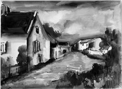 Maurice de Vlaminck (French, 1876-1958). Village of Verville. Watercolor, glazed, Image: 17 11/16 x 23 13/16 in. (45 x 60.5 cm). Brooklyn Museum, Museum Collection Fund, 31.204. © artist or artist's estate