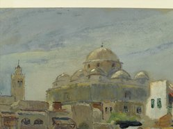 Colin Campbell Cooper (American, 1856-1937). Place Bab-Souika, Tunis, 20th century. Watercolor, (possibly casein), and graphite on paper, 15 1/16 x 18 in. (38.2 x 45.7 cm). Brooklyn Museum, Museum Collection Fund, 31.206
