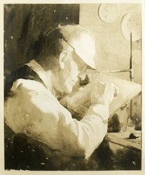Alphaeus P. Cole (American, born 1876). Portrait of Timothy Cole at Work, 1926. Watercolor over pencil, 23 7/8 x 20 in. Brooklyn Museum, Frederick Loeser Fund, 31.738. © artist or artist's estate