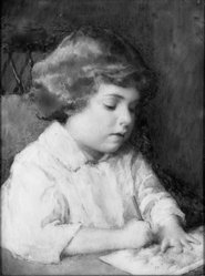 Mary Coleman Allen (American, 1888-1974). Boy Drawing, ca. 1931. Watercolor on ivory portrait in wood frame under glass, Image (sight): 3 5/16 x 2 1/2 in. (8.4 x 6.4 cm). Brooklyn Museum, Museum Collection Fund, 31.747. © artist or artist's estate