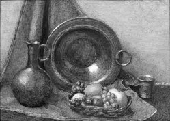 Alma Hirsig Bliss (American, born Bern, Switzerland 1875-after 1959). Still Life, 1930. Watercolor painting in brass frame under glass, Image (sight): 2 15/16 x 4 1/8 in. (7.5 x 10.5 cm). Brooklyn Museum, Museum Collection Fund, 31.748. © artist or artist's estate