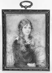 Clara Louise Bell (American, 1886-1995). Portrait of Girl with Long Hair, 1923. Watercolor on porcelain in metal frame under glass, Image (sight): 3 7/8 x 2 13/16 in. (9.8 x 7.1 cm). Brooklyn Museum, Museum Collection Fund, 31.759. © artist or artist's estate