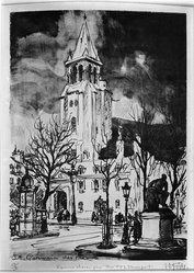Lester George Hornby (American, 1882-1956). St. Germain des Pres, n.d. Lithograph on China paper laid down, Sheet: 20 1/4 x 14 13/16 in. (51.4 x 37.6 cm). Brooklyn Museum, Gift of Mr. and Mrs. William Slocum Davenport, 32.150. © artist or artist's estate