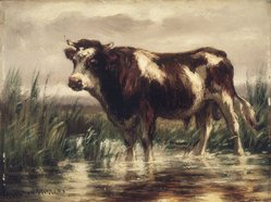 John Carleton Wiggins (American, 1848-1932). Landscape with Bull, ca. 1885. Oil on board, 5 1/2 x 7 1/2 in. (14 x 19 cm). Brooklyn Museum, Gift of the executors of the Estate of Colonel Michael Friedsam, 32.873. © artist or artist's estate