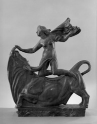 Carl Milles (Swedish, 1875-1955). Europa and the Bull, 1923-1924. Bronze, Other: 30 1/2 x 12 3/4 x 26 3/4 in. (77.5 x 32.4 x 67.9 cm). Brooklyn Museum, Lydia Richardson Babbott Fund, 33.288. © artist or artist's estate
