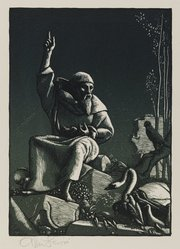 Allen Lewis (American, 1873-1957). Saint Francis Preaching to the Birds, 1933. Woodcut on paper, sheet: 12 3/4 in. (32.4 cm). Brooklyn Museum, Gift of members of the Woodcut Society, 33.406. © artist or artist's estate