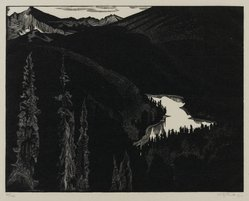 Walter Joseph Phillips (Canadian, 1884-1963). Vista Lake, 1932. Wood engraving on laid paper, sheet: 7 9/16 x 9 5/8 in. (19.2 x 24.4 cm). Brooklyn Museum, 33.57. © artist or artist's estate