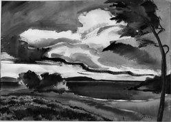 Yovan Radenkovitch. Seascape, 20th century. Watercolor, Image: 17 1/8 x 24 in. (43.5 x 61 cm). Brooklyn Museum, John B. Woodward Memorial Fund, 34.920. © artist or artist's estate