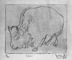 Stanley William Hayter (British, 1901-1988). Bison, 1928. Drypoint on wove paper, Image: 6 3/16 x 7 3/4 in. (15.7 x 19.7 cm). Brooklyn Museum, Gift of the artist, 35.2240. © artist or artist's estate