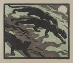 Norbertine von Bresslern-Roth (Austrian, 1891 - 1978). Phantoms, 1934. Woodcut on Japanese laid paper, Sheet: 10 13/16 x 11 1/2 in. (27.5 x 29.2 cm). Brooklyn Museum, Gift of members of the Woodcut Society, 35.662. © artist or artist's estate