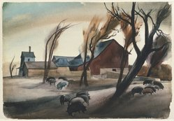 Millard Owen Sheets (American, 1907-1989). Hog Lot, 1932. Watercolor over graphite on off-white, very thick, rough-textured wove paper, 15 7/8 x 23 in. (40.3 x 58.4 cm). Brooklyn Museum, John B. Woodward Memorial Fund, 35.912. © artist or artist's estate