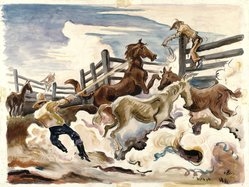 Thomas Hart Benton (American, 1889-1975). Lassoing Horses, 1931. Watercolor over graphite on cream, medium-weight, slightly textured wove paper mounted to a secondary paper, Sheet: 21 1/4 x 27 3/4 in. (54 x 70.5 cm). Brooklyn Museum, John B. Woodward Memorial Fund, 35.948. © artist or artist's estate