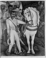 Diego Rivera (Mexican, 1886-1957). Zapata, 1932. Lithograph on paper, sheet: 20 3/8 x 15 1/2 in. (51.8 x 39.4 cm). Brooklyn Museum, Charles Stewart Smith Memorial Fund, 36.258. © artist or artist's estate