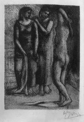 Pablo Picasso (Spanish, 1881-1973). Les Trois Baigneuses, III, 1922-1923. Etching on wove paper, 7 1/16 x 5 1/8 in. (17.9 x 13 cm). Brooklyn Museum, 36.56. © artist or artist's estate