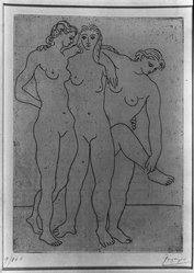 Pablo Picasso (Spanish, 1881-1973). Groupe de Trois Femmes, 1922-1923. Aquatint and etching on laid paper, 7 x 5 1/8 in. (17.8 x 13 cm). Brooklyn Museum, A . Augustus Healy Fund, 36.57. © artist or artist's estate