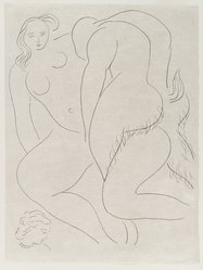 "Henri Matisse (French, 1869-1954). [Untitled] (Illustration for the Poem ""L'Après-midi d'un Faune""), 1932. Etching on wove paper, Sheet: 13 1/4 x 9 7/8 in. (33.7 x 25.1 cm). Brooklyn Museum, Carll H. de Silver Fund, 36.67.16. © artist or artist's estate"