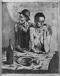 Pablo Picasso (Spanish, 1881-1973). The Frugal Repast (Le Repas frugal), 1904. Etching on zinc on wove paper, 18 1/4 x 14 13/16 in. (46.3 x 37.7 cm). Brooklyn Museum, Brooklyn Museum Collection, 36.913. © artist or artist's estate