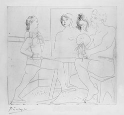 Pablo Picasso (Spanish, 1881-1973). L'Atelier, 1927. Etching on wove paper, Image: 13 7/8 x 15 3/8 in. (35.2 x 39 cm). Brooklyn Museum, 36.958. © artist or artist's estate