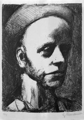 Georges Rouault (French, 1871-1958). Self-Portrait with Cap. Lithograph on wove paper, comp.: 9 1/8 x 6 13/16 in. (23.2 x 17.3 cm). Brooklyn Museum, By exchange, 36.959. © artist or artist's estate