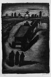 Georges Rouault (French, 1871-1958). Faubourg, Pantin, 1929. Lithograph on China paper, 13 x 8 3/4 in. (33 x 22.2 cm). Brooklyn Museum, By exchange, 37.112. © artist or artist's estate