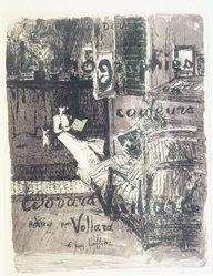 Édouard Vuillard (French, 1868-1940). Cover for the Album Paysages et Intérieurs (Couverture de l'Album Paysages et Intérieurs), 1899. Color lithograph on wove paper, Image: 20 5/16 x 15 3/8 in. (51.6 x 39.1 cm). Brooklyn Museum, By exchange, 37.149.1. © artist or artist's estate