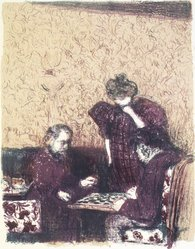 Édouard Vuillard (French, 1868-1940). The Game of Checkers (La Partie de dames), 1899. Color lithograph on China paper, Image: 13 3/8 x 10 1/16 in. (34 x 25.6 cm). Brooklyn Museum, By exchange, 37.149.2. © artist or artist's estate