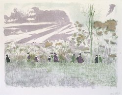 Édouard Vuillard (French, 1868-1940). Across the Fields (À travers champs), 1899. Color lithograph on China paper, Image: 10 5/16 x 13 5/8 in. (26.2 x 34.6 cm). Brooklyn Museum, By exchange, 37.149.4. © artist or artist's estate