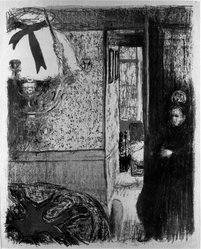 Édouard Vuillard (French, 1868-1940). Interior with Hanging Lamp (Intérieur à la suspension), 1899. Color lithograph on China paper, Image: 14 1/8 x 11 3/16 in. (35.9 x 28.4 cm). Brooklyn Museum, By exchange, 37.149.5. © artist or artist's estate
