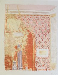 Édouard Vuillard (French, 1868-1940). Interior with Pink Wallpaper I (Intérieur aux tentures roses I), 1899. Color lithograph on China paper, Image: 13 9/16 x 10 7/8 in. (34.4 x 27.6 cm). Brooklyn Museum, By exchange, 37.149.6. © artist or artist's estate