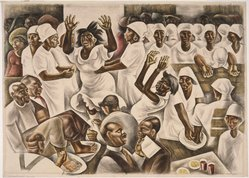 Howard Norton Cook (American, 1901-1980). Foot Washing, 1935. Watercolor over graphite on paper, Sheet: 23 1/4 x 32 in. (59.1 x 81.3 cm). Brooklyn Museum, John B. Woodward Memorial Fund, 37.355. © artist or artist's estate