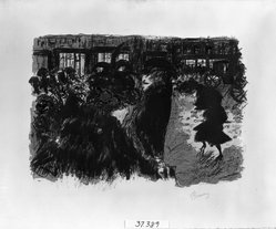 Pierre Bonnard (French, 1867-1947). The Square at Evening (Place le soir), 1897-1898. Color lithograph on wove paper, Image: 11 1/16 x 15 in. (28.1 x 38.1 cm). Brooklyn Museum, By exchange, 37.389. © artist or artist's estate