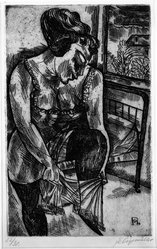 Conrad Felixmüller (German, 1897-1977). Woman Dressing in the Morning. Etching on wove paper, 11 x 6 15/16 in. (28 x 17.7 cm). Brooklyn Museum, Gift of J. B. Neumann, 37.428. © artist or artist's estate